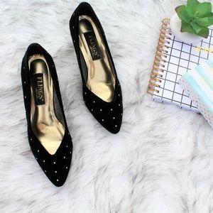 Vintage Flings Velvet Diamond Heels Size 8.5M
